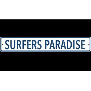 Plaque de rue métal épais: Surfer Paradise-mg-mgb