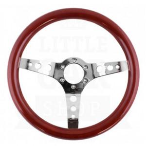 Volant bois Springalex 34 chrome (Moyeu en option)-Austin Mini